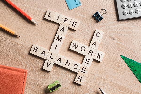 Scrabble tiles about balancing life